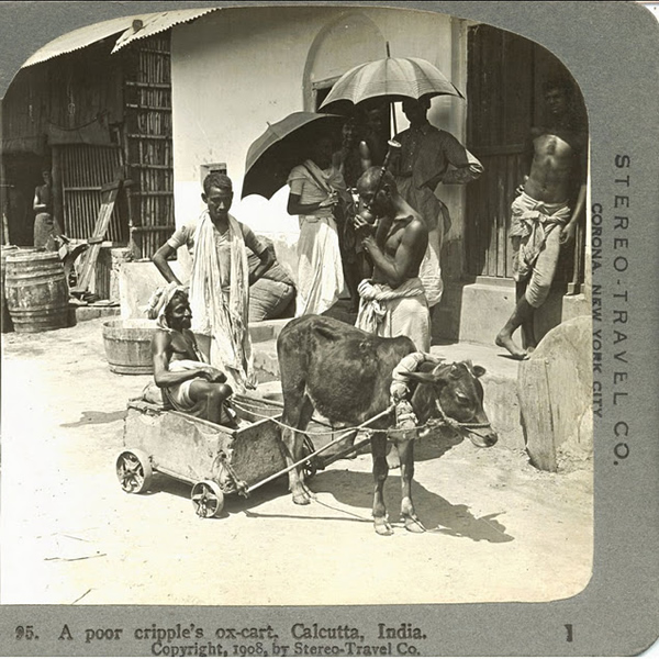 Poor Cripple Beggar's Ox Cart and Men Standing behind - Calcutta (Kolkata)