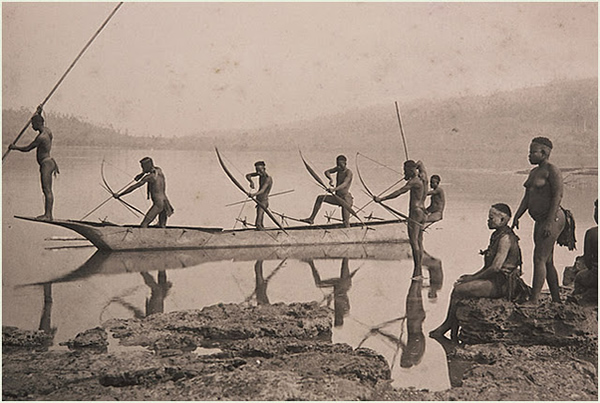 Andaman Tribals Fishing - Circa 1870