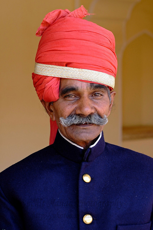 Portrait of the man at the Jaipur Palace, Jaipur, Rajasthan, India.
