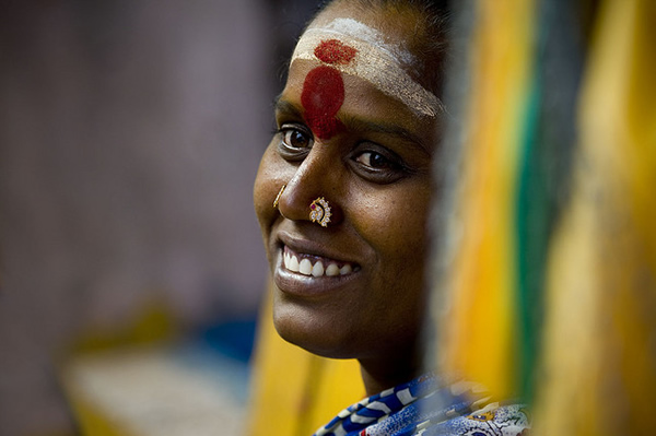 Happy pilgrim woman - India
