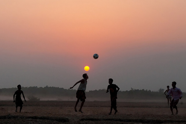 Boys Playing Football - Bangladesh