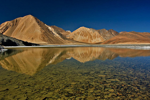 Reflected mountains - Pangong lake, Ladakh, J&K, India