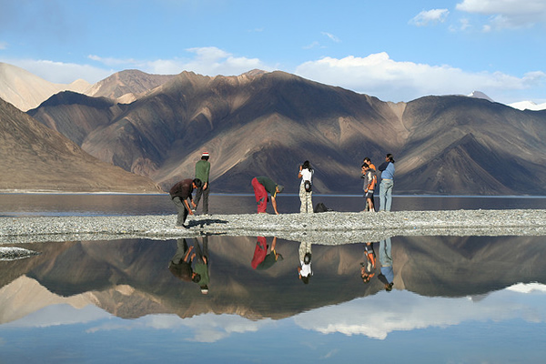 Reflections on Pangong lake - Ladakh, India