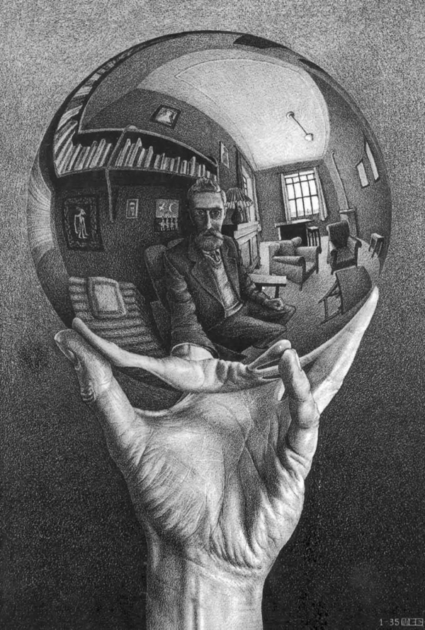 Hand with reflecting sphere by M.C. Escher