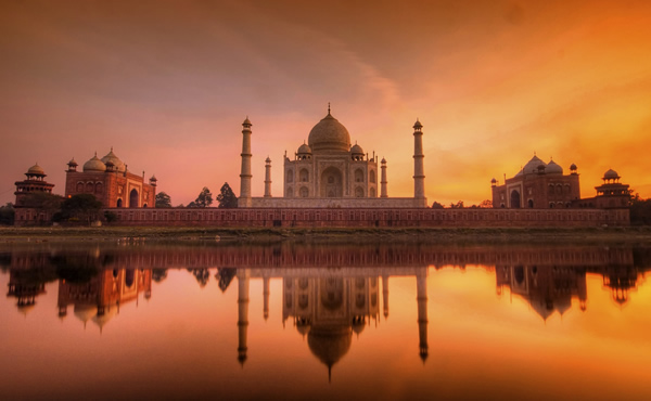 The Taj Mahal at Sunset by Debashis Talukdar