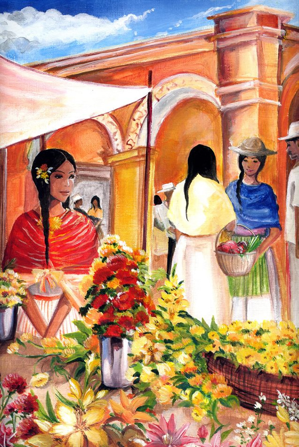Peruvian Market - 30 Inspirational Examples of Traditional Paintings