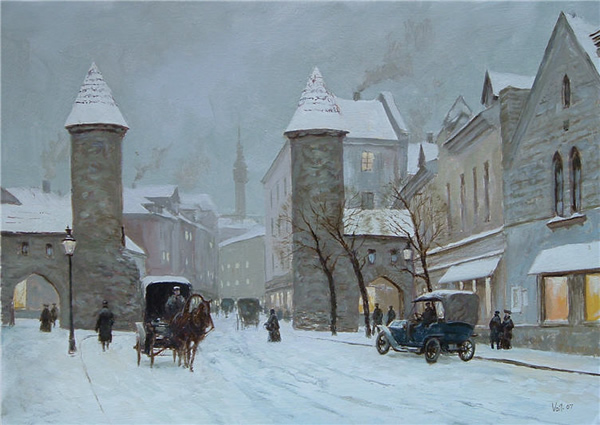 Street in Tallinn - 30 Inspirational Examples of Traditional Paintings