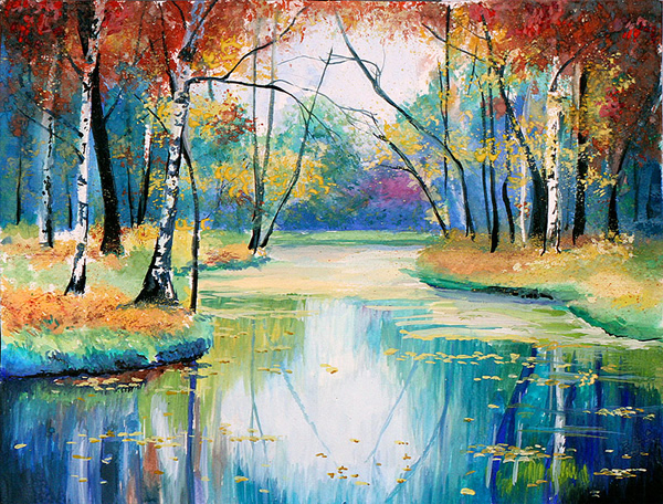 Autumn lake - 30 Inspirational Examples of Traditional Paintings