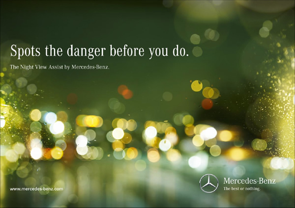 Spots the danger before you do. The Night View Assist by Mercedes-Benz