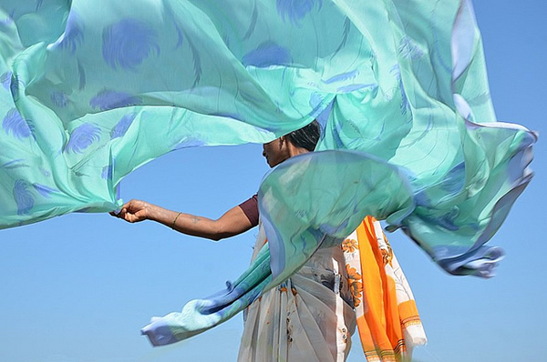 Sari Drying. Hampi - Indian Color Street Photography