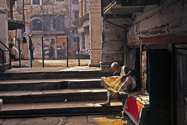 Busy steps- Varanasi India - Indian Color Street Photography