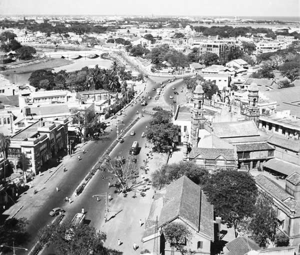 An aerial view of Mount Road - Madras (Chennai) - 1950