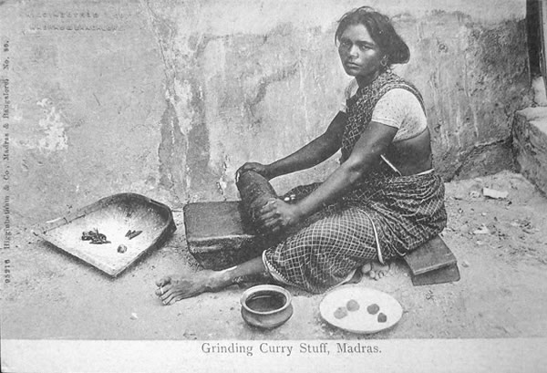 Woman Grinding Curry Stuff - Madras (Chennai)