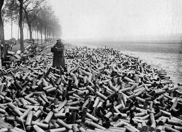 The shells from an allied creeping bombardment on German lines, 1916