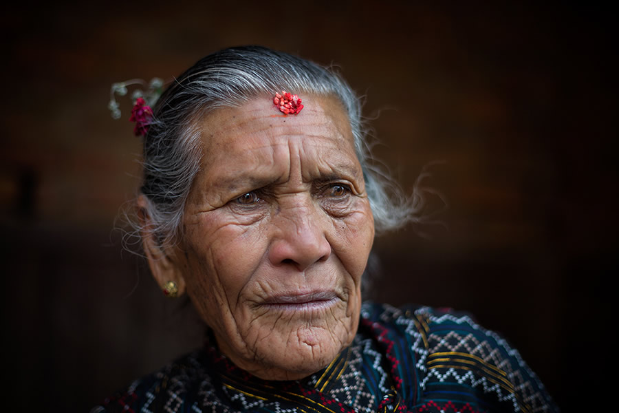 An old woman during the festival