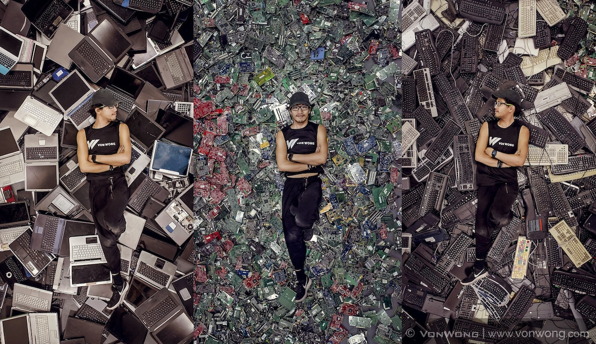 Photographer Benajmin Von Wong Transformed 4,100 Pounds Of e-Waste Into Post-Apocalyptic Landscapes