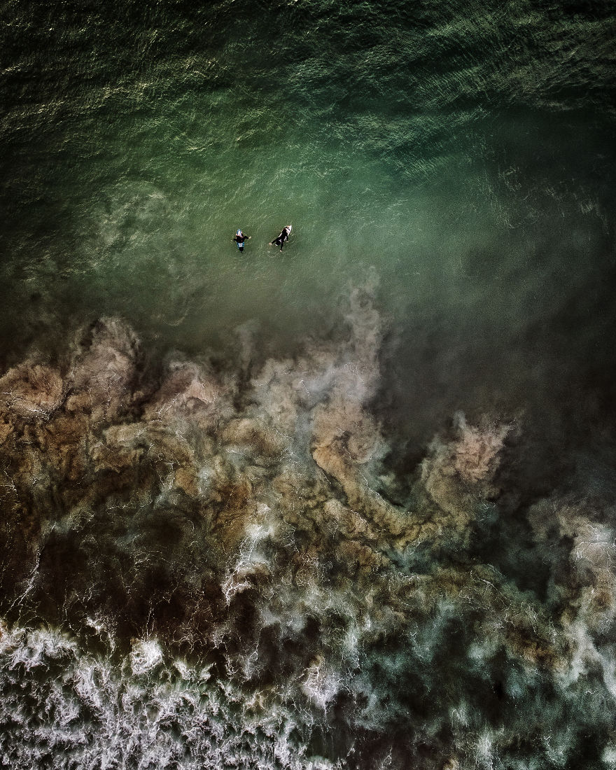 Drone Shots Of The Surfers On Llandudno Beach By Antti Viitala
