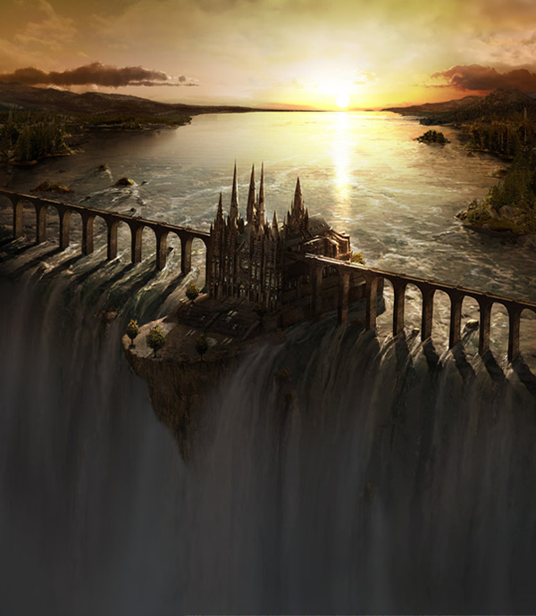 Waterfall Castle matte art - Digital Paintings