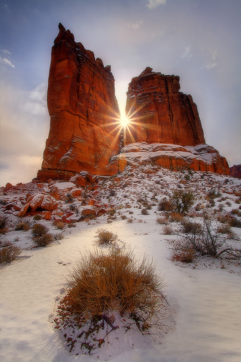Arches NP, Winter Storm Clearing Sunburst
