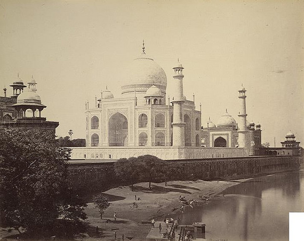 Taj Mahal from the river side by Samuel Bourne in the 1860s