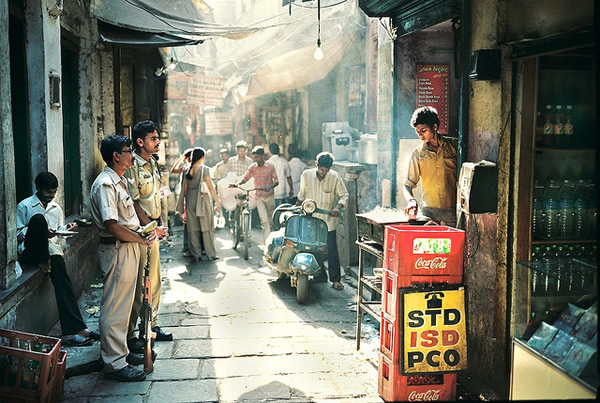Boy Making a Dosa for Military Men, Varanasi India - Indian Color Street Photography