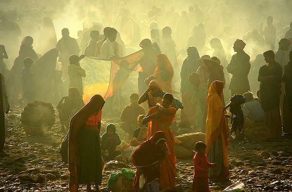 Getting ready for early morning dip - Indian Color Street Photography