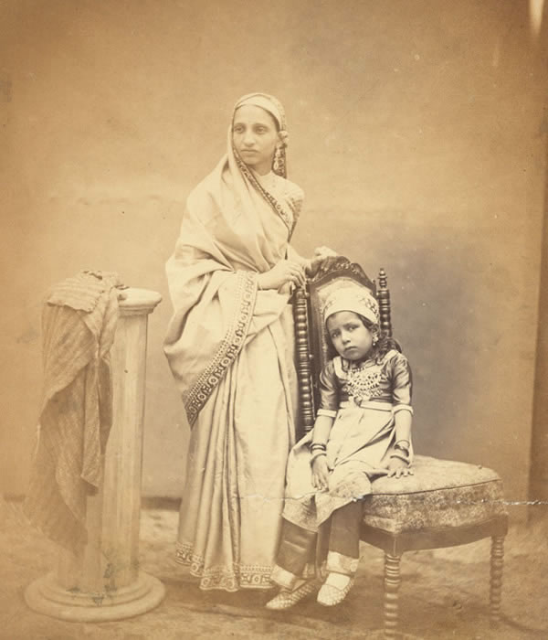 A Parsee Lady with a Child - Studio Photograph Bombay (Mumbai) 1867