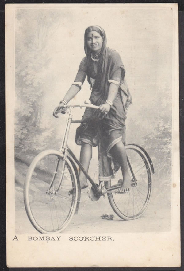An Young Woman in Sari, Rides Bicycle - Bombay (Mumbai) Undated Photograph