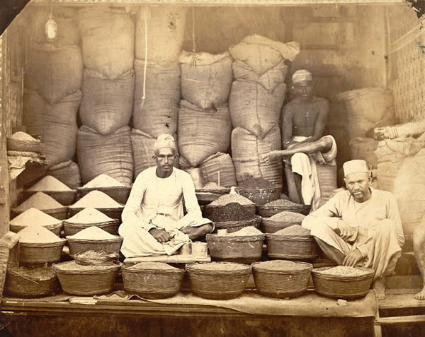 Grain Sellers Shop at Bombay (Mumbai) - 1873