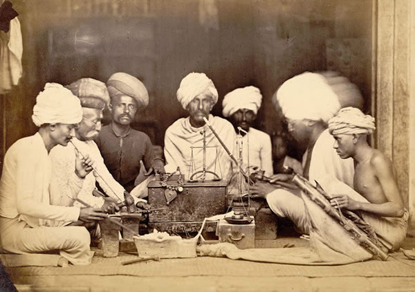 Group of Goldsmiths (Sonars) Seated Round a Low Work Table at Bombay (Mumbai) - 1873