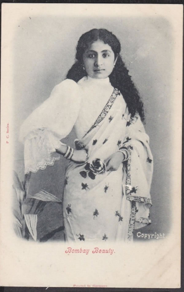 Post Card of a Beautiful Woman - Bombay (Mumbai)