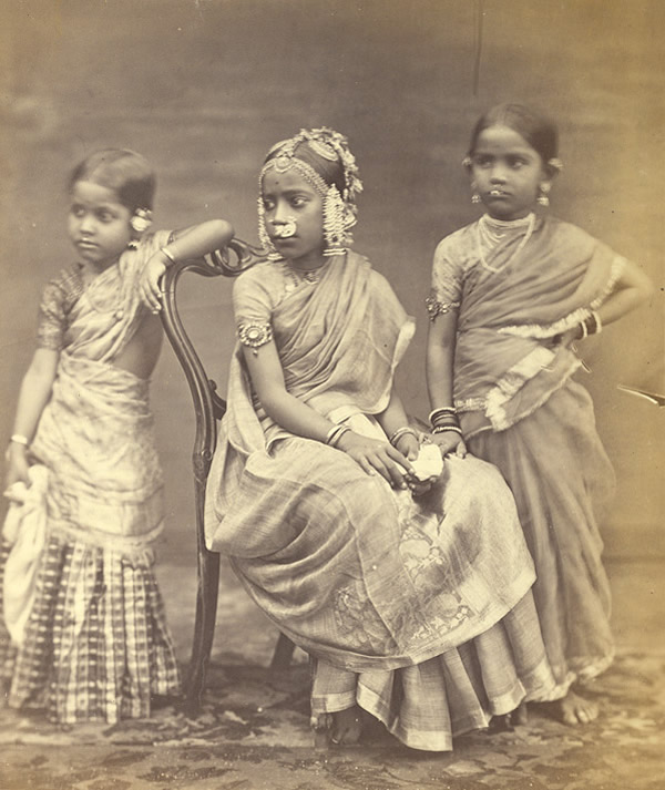 Studio Portrait of Three Girls Wearing Jewellery - Madras (Chennai) - 1870