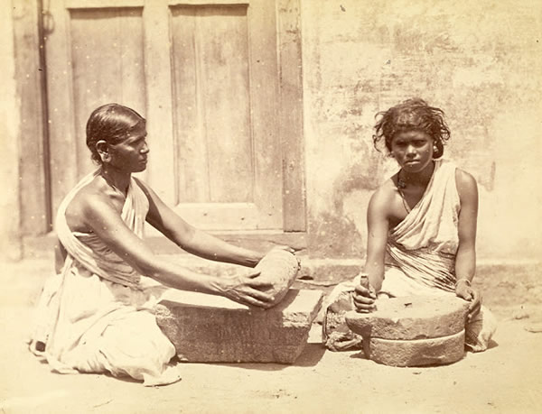 Two Women with a Curry Stone and a Raggy Mill - Madras (Chennai) - 1870