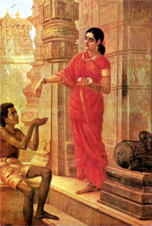 Lady giving Alms at the Temple by Raja Ravi Varma