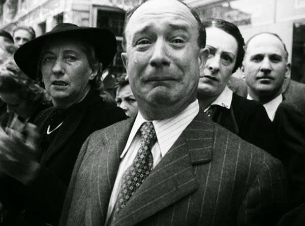 Frenchman crying during Nazi occupation of France, 1940