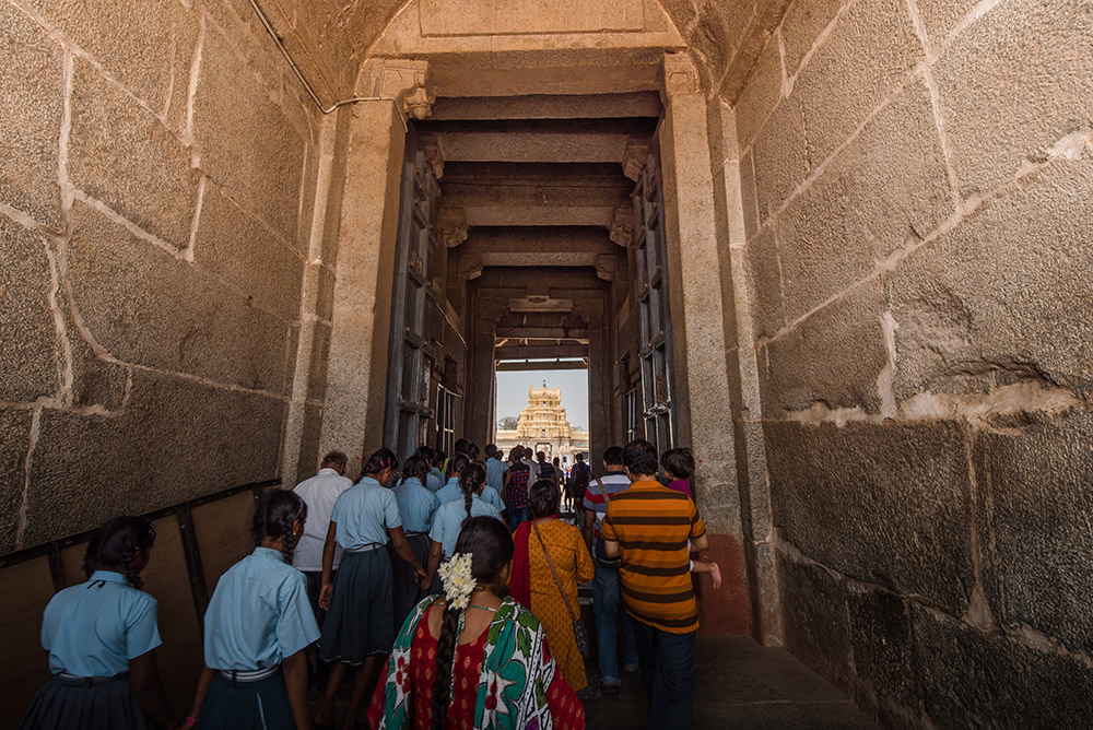 Visitors to Veerupaksha Temple