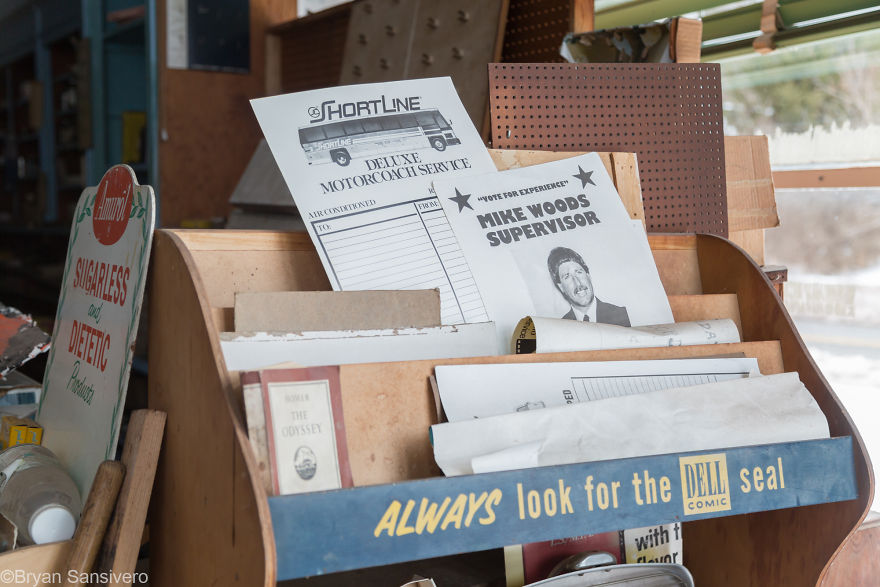 Political posters and papers in the entry of the store