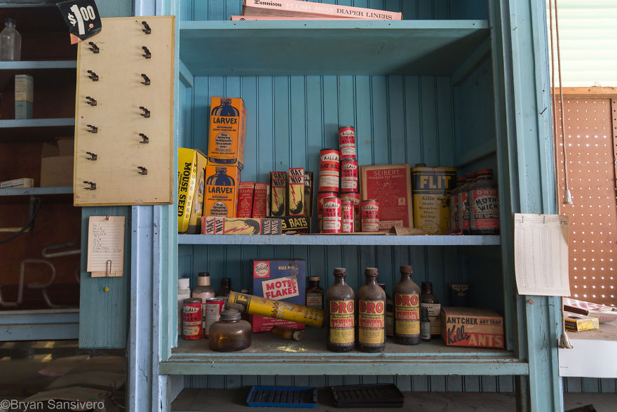 Animal poisons sit on the shelves