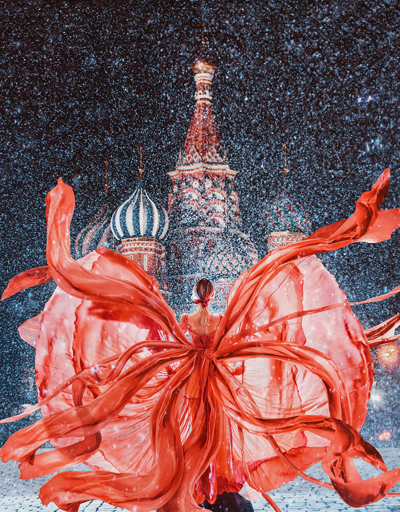 Red Square, Moscow, St. Basil Cathedral. Model: Nataly