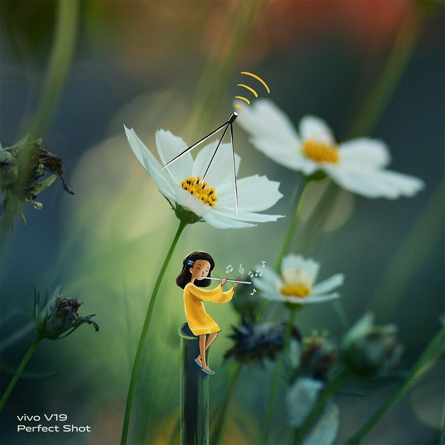 Yellow Girl: The Little Character Interacts With The Macro World By Vimal Chandran