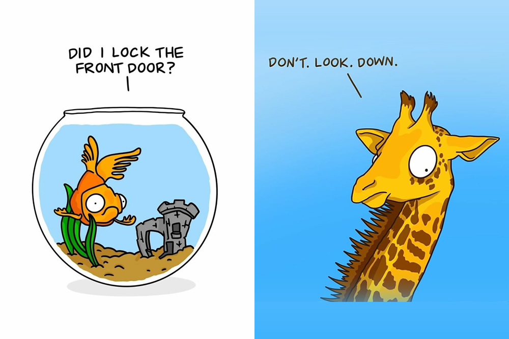 """Artist Amee Wilson Created 30 Of Funny And Relatable """"Anxious Animals"""" Comics"""